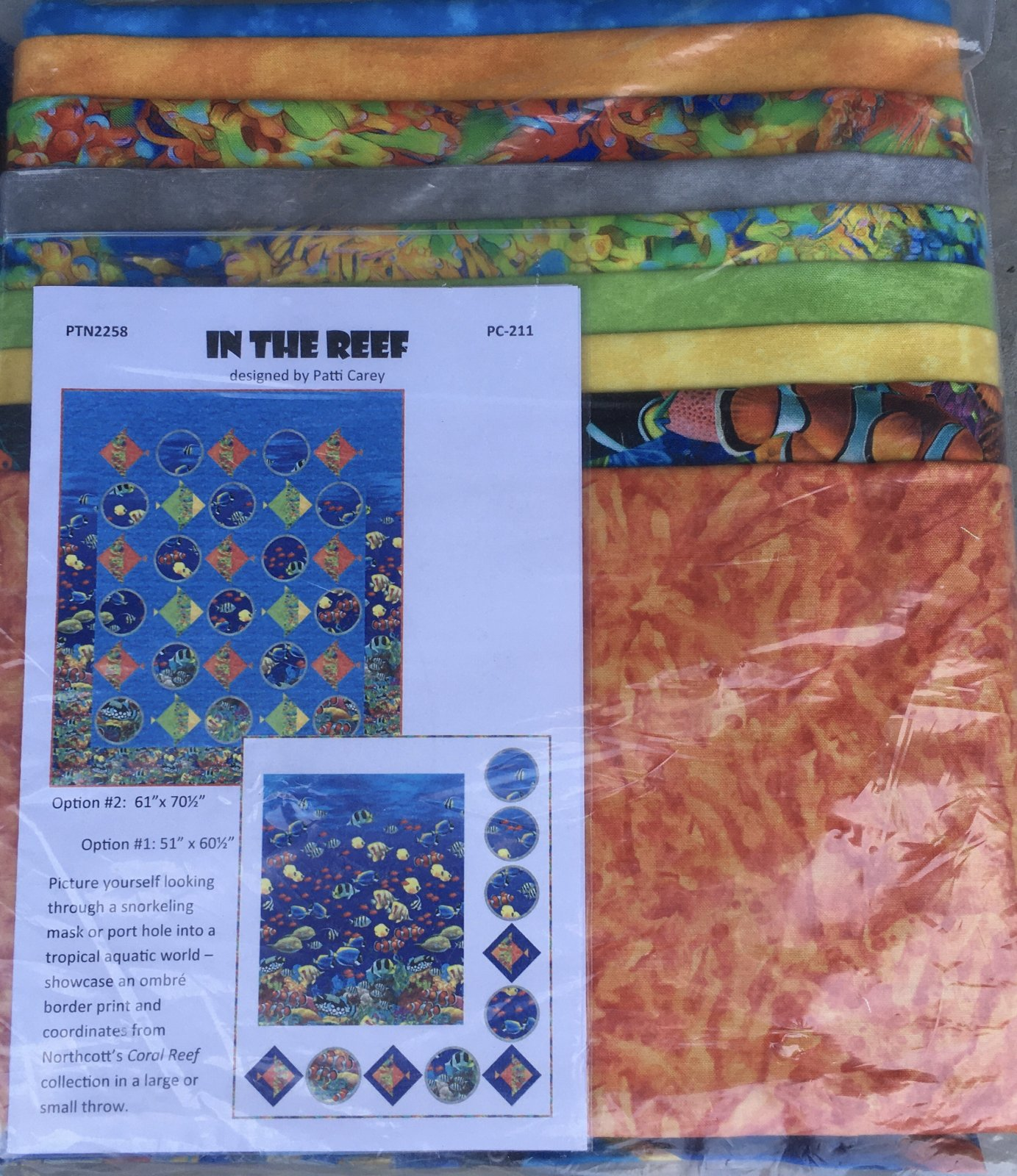 In The Reef Quilt Pattern Kit by Patty Carey - Option 2 size 61 x 70 1/2