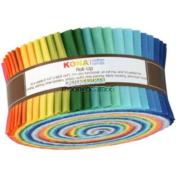 Kona Cotton Solids - 2-1/2in Strips Roll Up - Summer Colourway 40pcs