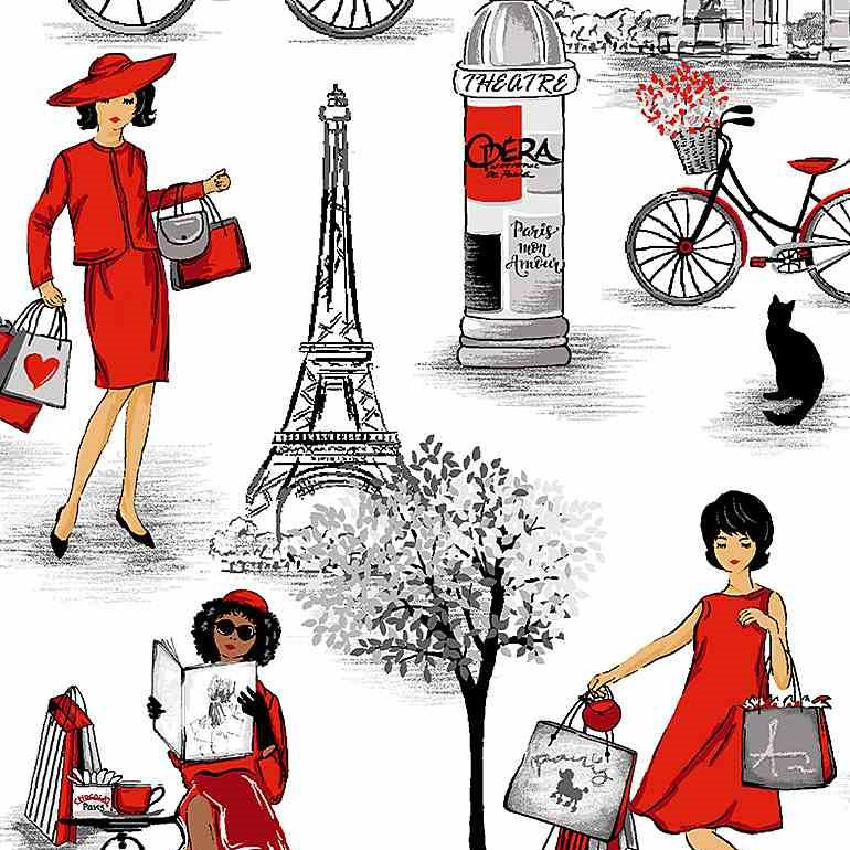 Bonjour by Timeless Treasures - Ladies in Red in Paris - White