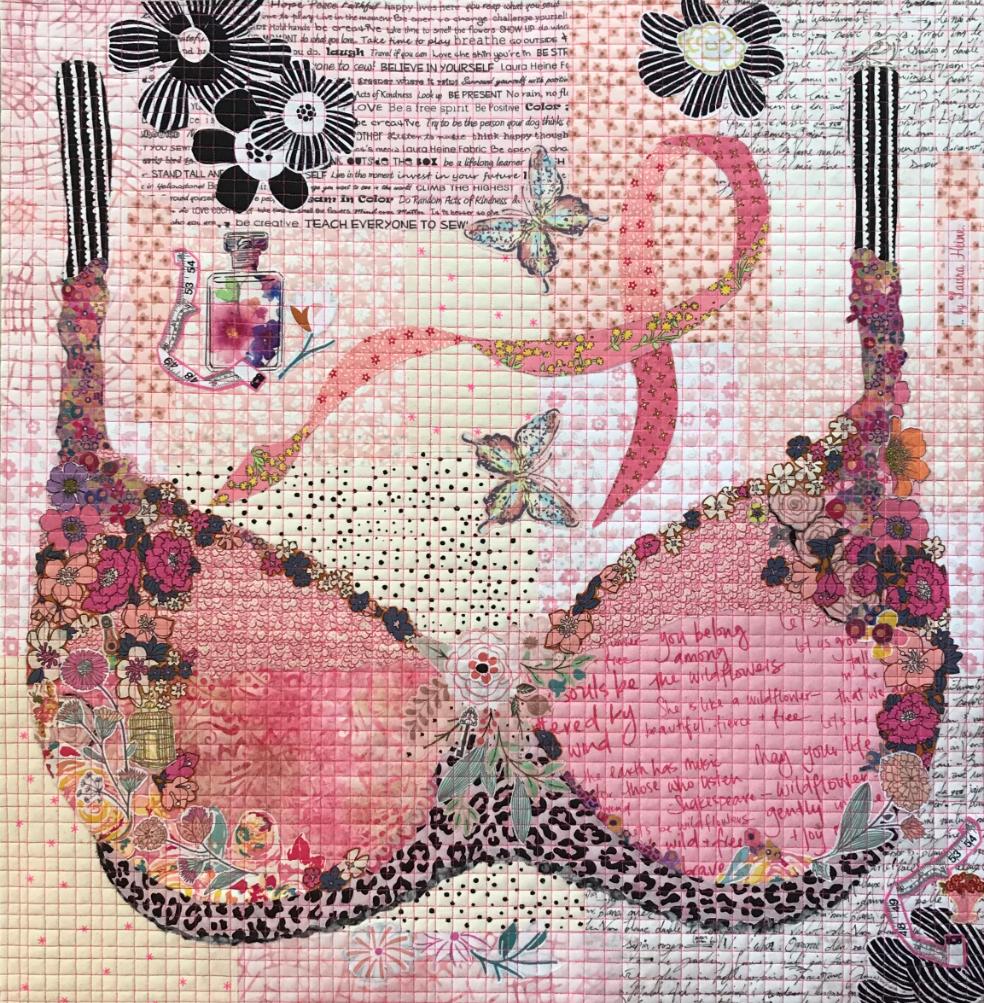 Pretty in Pink Collage Quilt by Laura Heine