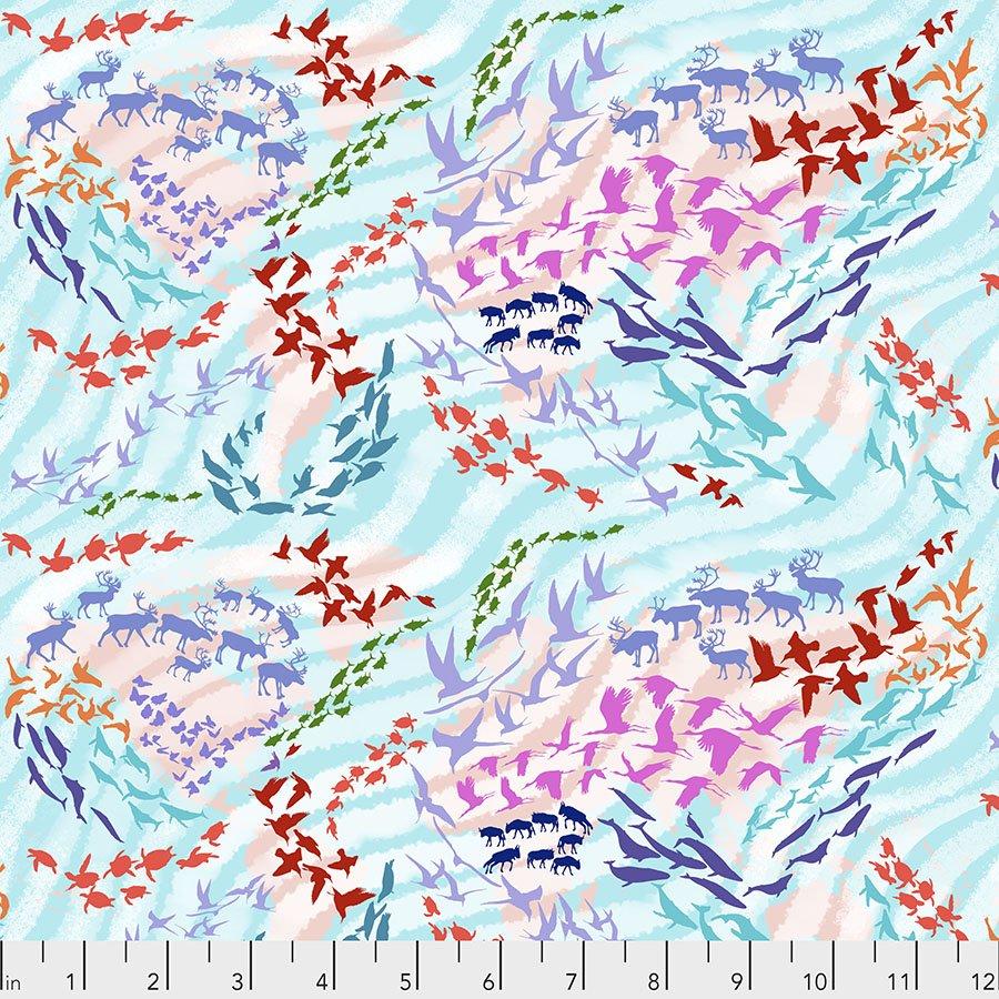 Migration by Lorraine Turner - Migratory Map - Aqua