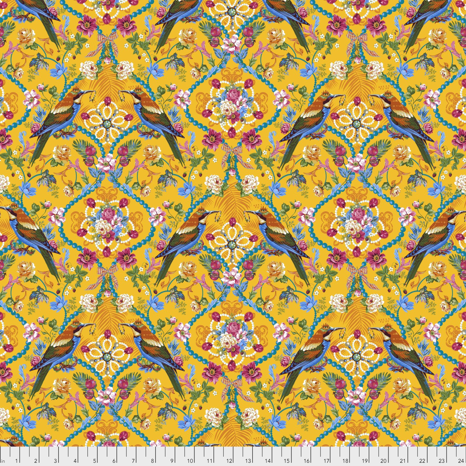 Jardin de la Reine by Odile Bailloeul for Free Spirit Fabrics - The Queen's Jewels Small - Gold