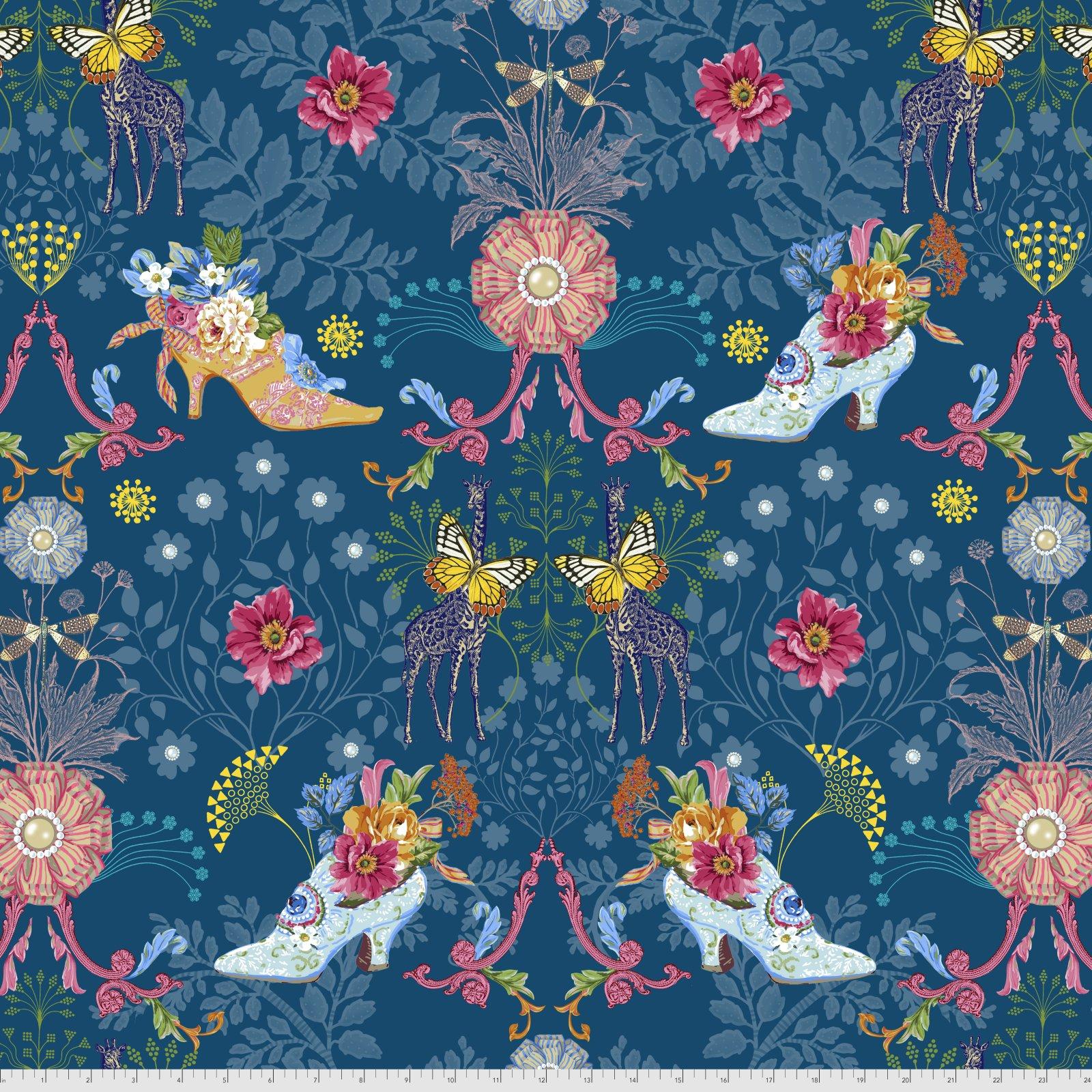 Jardin de la Reine by Odile Bailloeul for Free Spirit Fabrics - Royal Expedition - Teal
