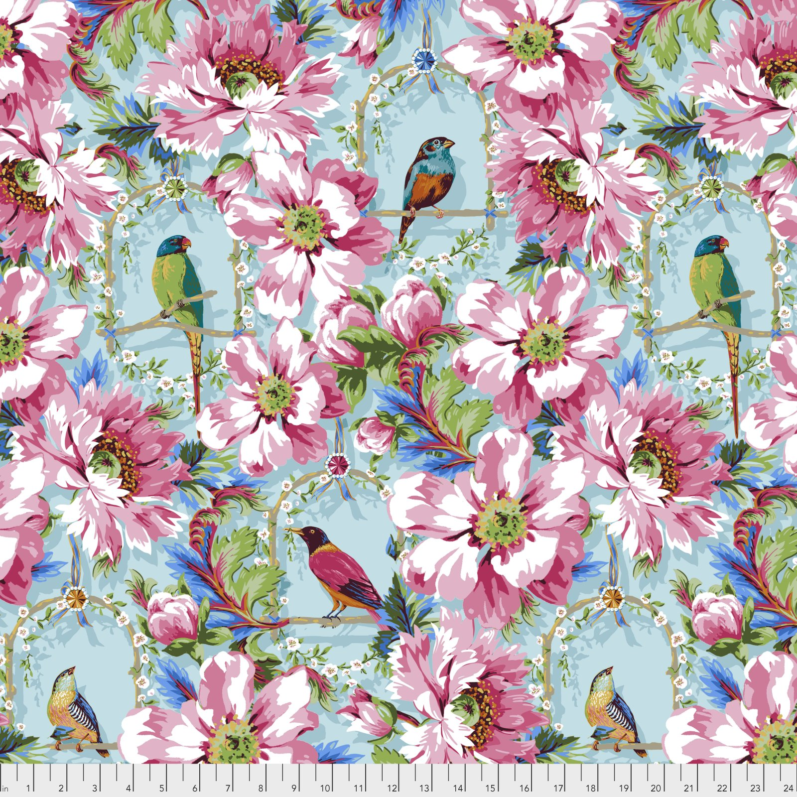Jardin de la Reine by Odile Bailloeul for Free Spirit Fabrics - The Queen's Musicians - Sky