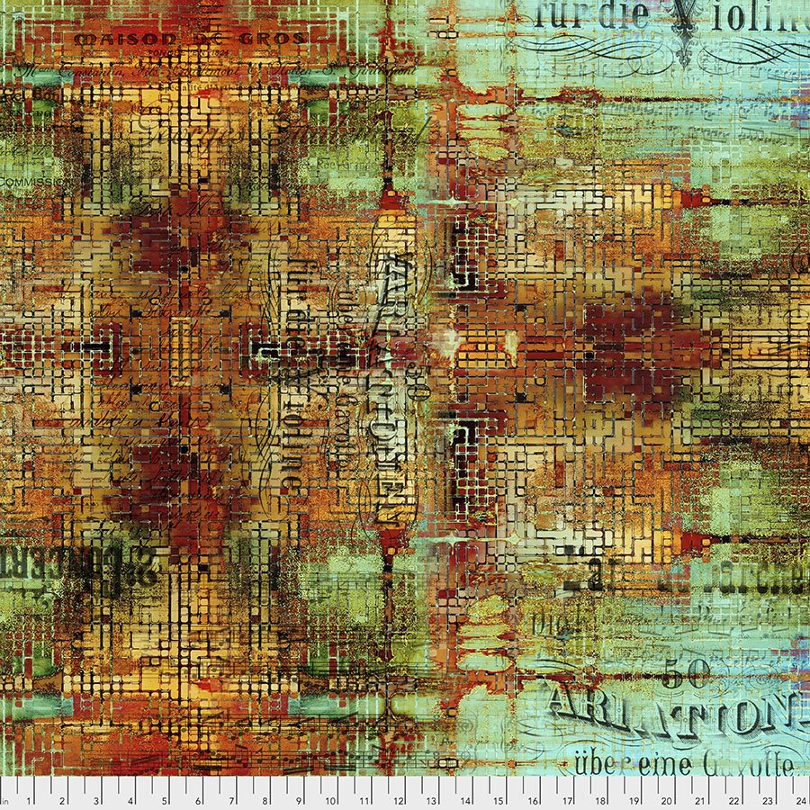 Eclectic Elements - Abandoned by Tim Holtz for Free Spirit Fabrics - Rusted Patina - Patina