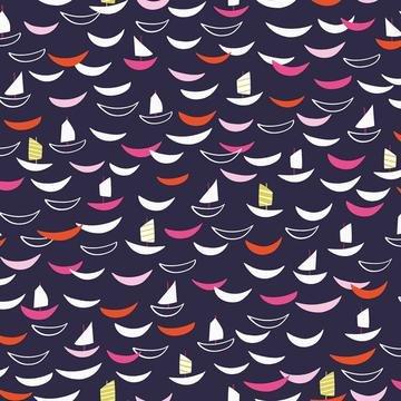 Silk Roads by Ali Brookes for Dashwood Studio - Trade Ships - Dark Purple