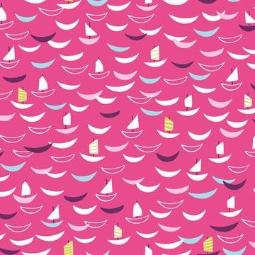 Silk Roads by Ali Brookes for Dashwood Studio - Trade Ships - Bright Pink