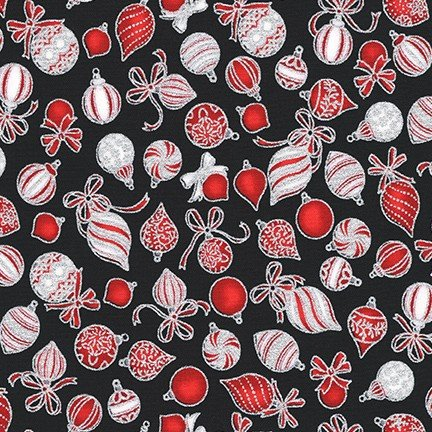 Holiday Charms by Robert Kaufman - Ornaments - Onyx