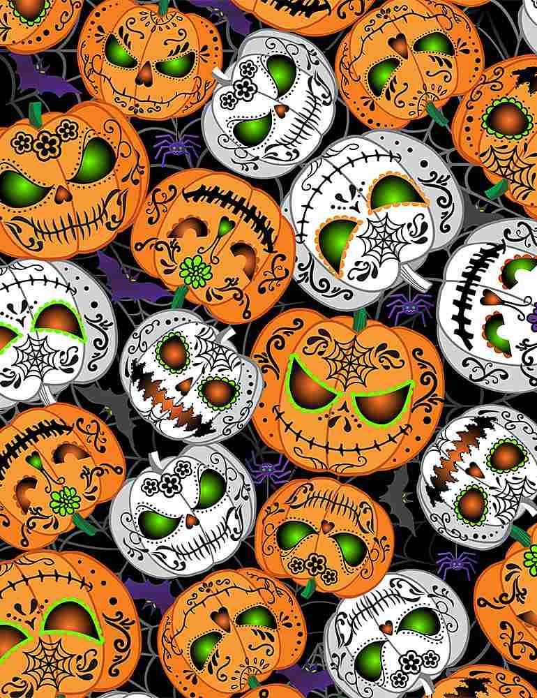 All Eyes on You by Timeless Treasures - Scary Pumpkins Glow - Black