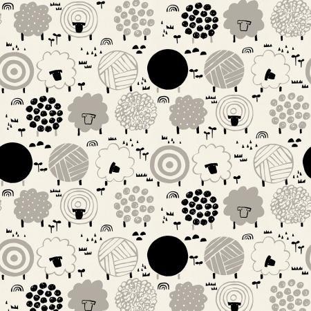 Full Moon - Collaborative Collection by Cotton + Steel - Fuwafuwa-san no Bokujo - Fuwafuwa-san - Steel Wool Unbleached Fabric