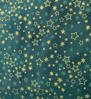Glimmer Green with Gold Stars