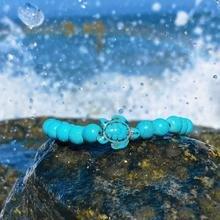 Teal Stone Sea Turtle Bracelet