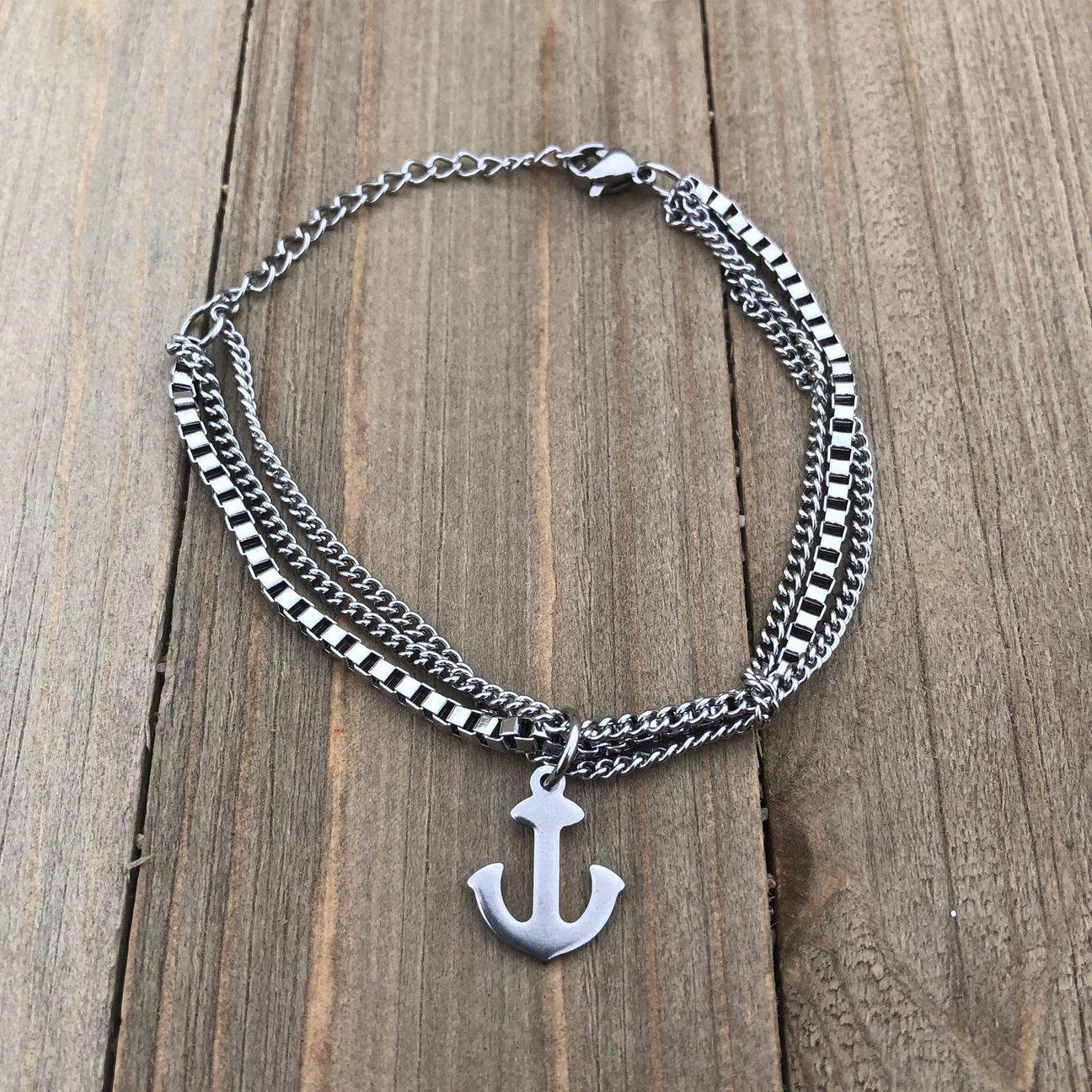 Triple Chain Anchor Bracelet