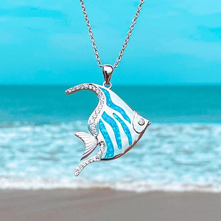 Blue Opal Angelfish Necklace