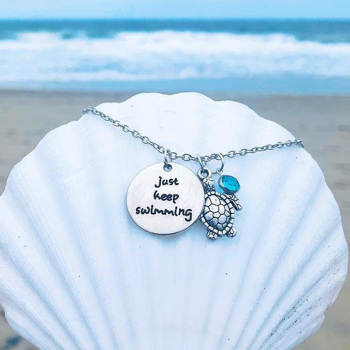 Just Keep Swimming Charm Necklace