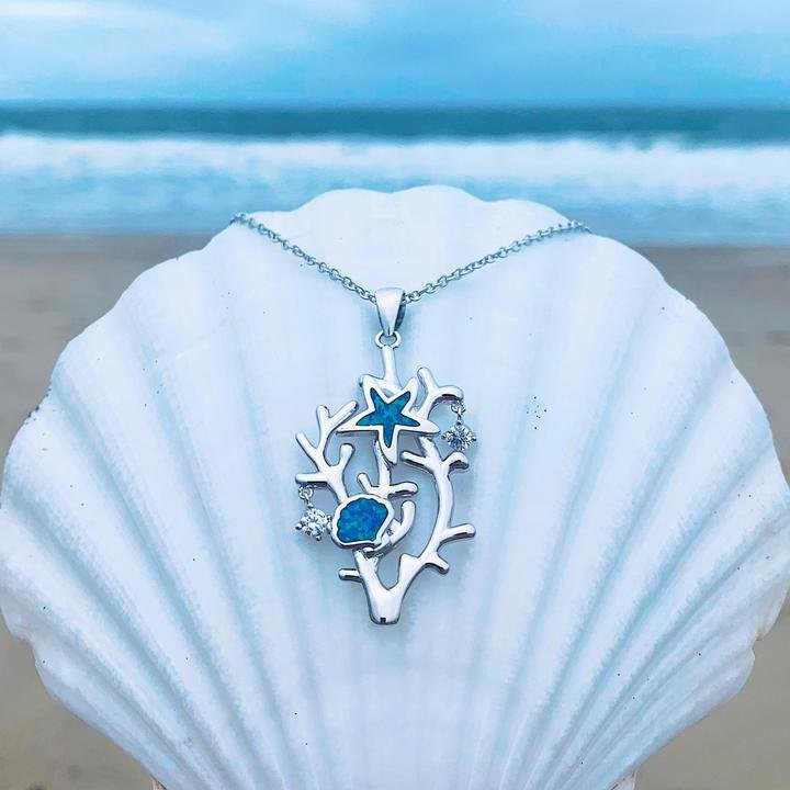 Blue Opal Coral Sea Star Necklace