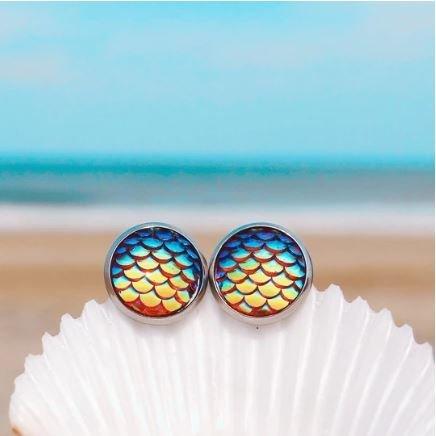 Rainbow Mermaid Scale Earrings