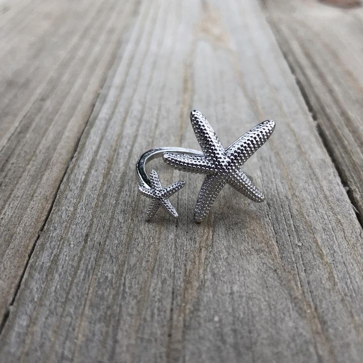 Double Starfish Silver Twist Ring