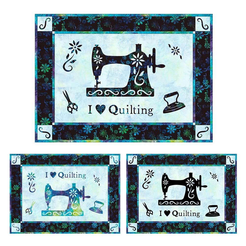 SHAN-NKSSS16 MUL - I LOVE QUILTING PRECUT KIT BY SHANIA SUNGA BLU/PUR/GRN36X26