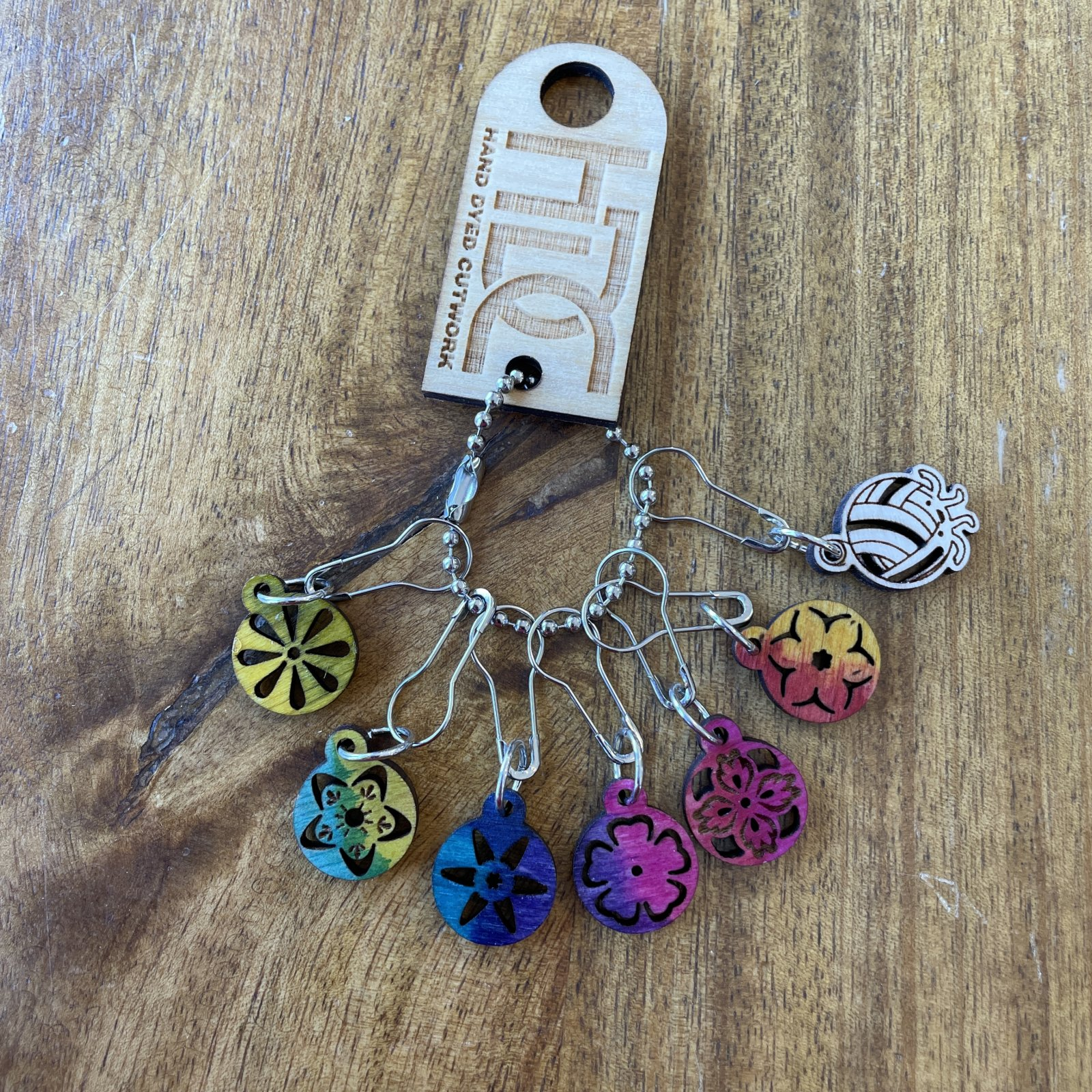 Hand Dyed Wood Stitch Markers