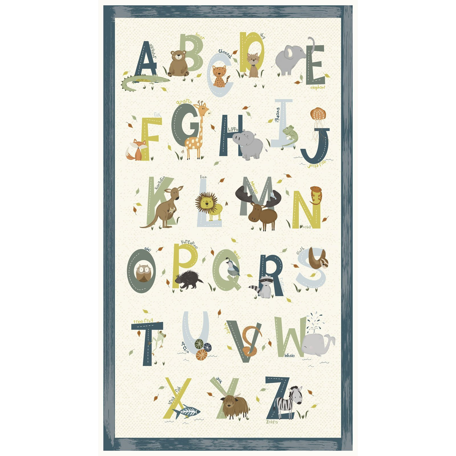 ANIA-4464 PA B - ANIMAL ALPHABET BY DEANNE BEASLEY PANEL BLUE 10YD(15 PNLS) - ARRIVING IN MAY 2021