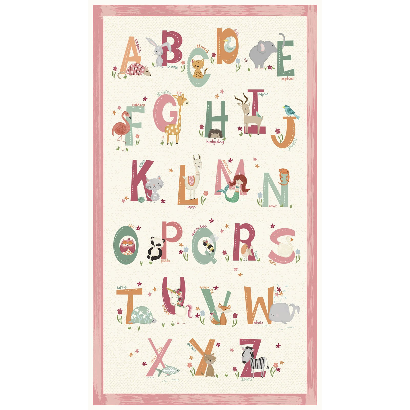 ANIA-4464 PA P - ANIMAL ALPHABET BY DEANNE BEASLEY PANEL PINK 10YD(15 PNLS) - ARRIVING IN MAY 2021
