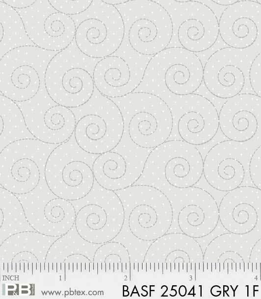 BASF-F25041 GRY - BASICALLY HUGS FLANNEL BY HELEN STUBBINGS SCROLL GREY