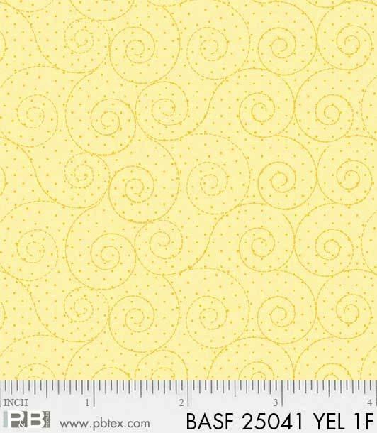 BASF-F25041 YEL - BASICALLY HUGS FLANNEL BY HELEN STUBBINGS SCROLL YELLOW