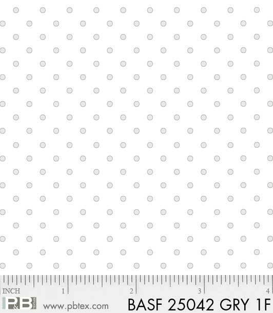 BASF-F25042 GRY - BASICALLY HUGS FLANNEL BY HELEN STUBBINGS DOTS GREY
