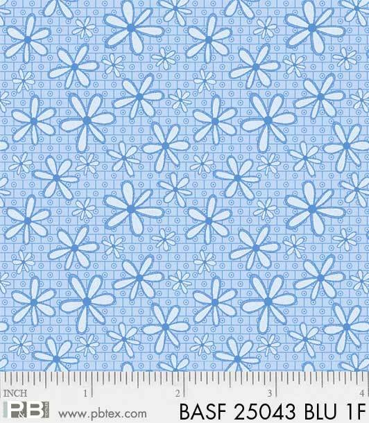 BASF-F25043 BLU - BASICALLY HUGS FLANNEL BY HELEN STUBBINGS DAISY BLUE