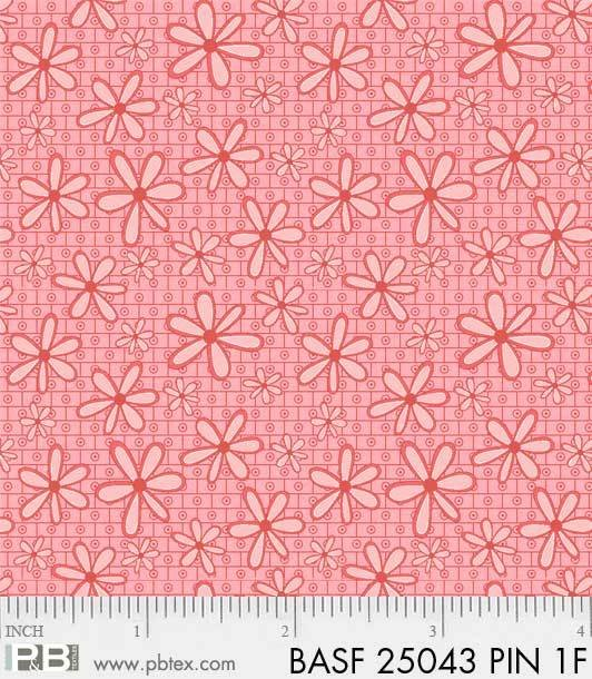 BASF-F25043 PIN - BASICALLY HUGS FLANNEL BY HELEN STUBBINGS DAISY PINK