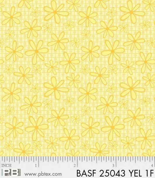 BASF-F25043 YEL - BASICALLY HUGS FLANNEL BY HELEN STUBBINGS DAISY YELLOW