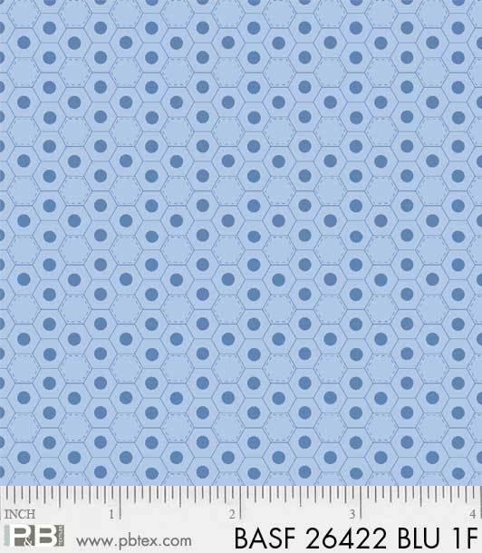 BASF-F26422 BLU - BASICALLY HUGS FLANNEL BY HELEN STUBBINGS HEXIES BLUE
