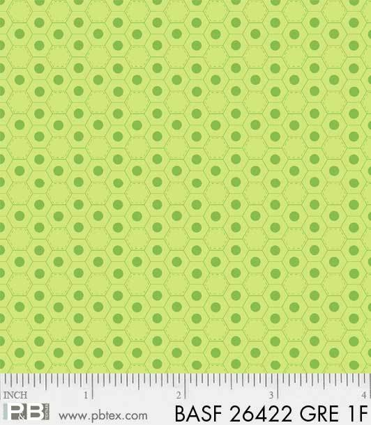 BASF-F26422 GRN - BASICALLY HUGS FLANNEL BY HELEN STUBBINGS HEXIES GREEN