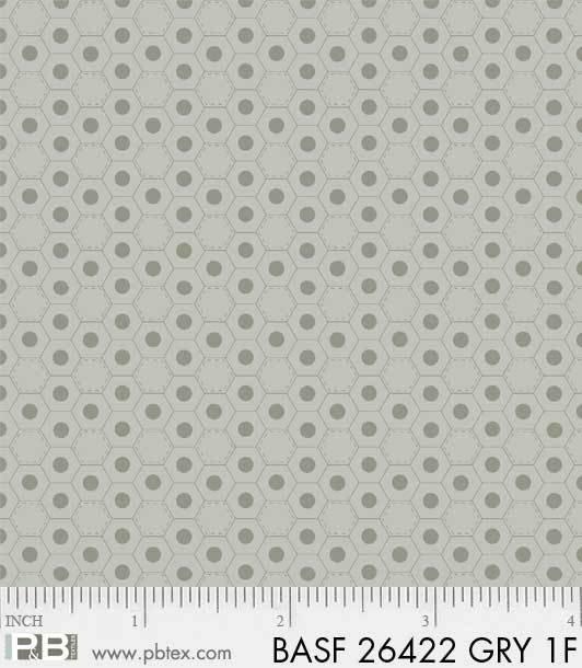BASF-F26422 GRY - BASICALLY HUGS FLANNEL BY HELEN STUBBINGS HEXIES GREY
