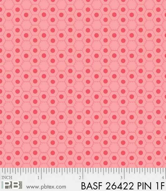 BASF-F26422 PIN - BASICALLY HUGS FLANNEL BY HELEN STUBBINGS HEXIES PINK