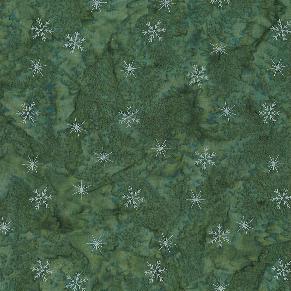 CABA-1053 740MS - SMALL SNOWFLAKES BY SHANIA SUNGA GREEN/SILVER-Delivery October 2020