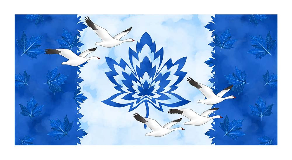 CASS-DC4018 - GLORIOUS & FREE BY SHANIA SUNGA SNOWBIRDS FLAG PANEL BLUE WHITE -  ARRIVING IN APRIL 2021