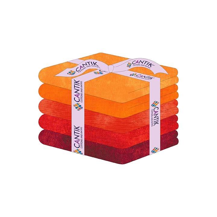CASS-HMTUSC ORRE - TUSCAN CHARM HALF METRE CUTS BY SHANIA SUNGA 5PCS/PK ORANGE RED