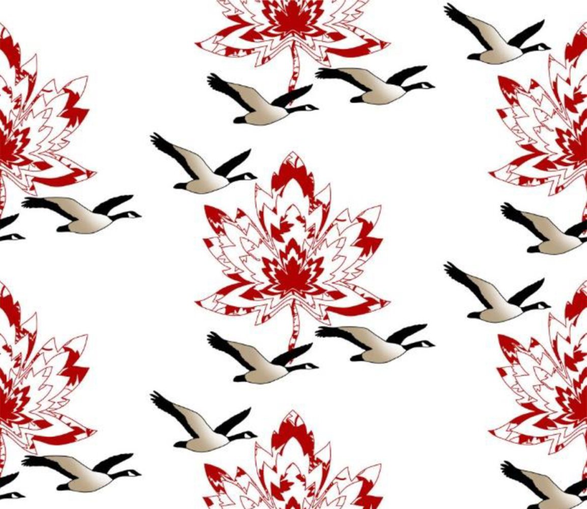 CASS-M7001 RED - MAPLE CANADA GEESE 100%POLY MINKY 250GSM 58/60 RED/WHI/BLK
