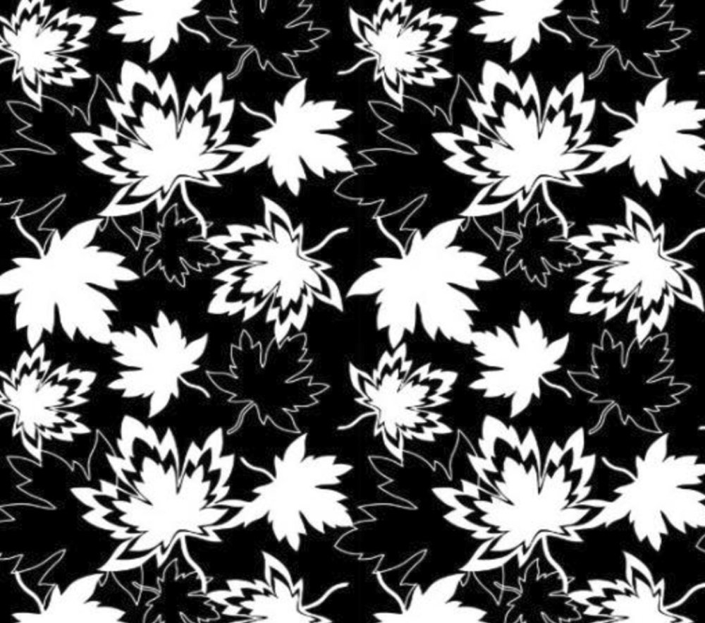 CASS-P7002 BLK - CANADIAN MAPLE LEAVES 100%POLY 230GSM 58/60 BLK/WHI