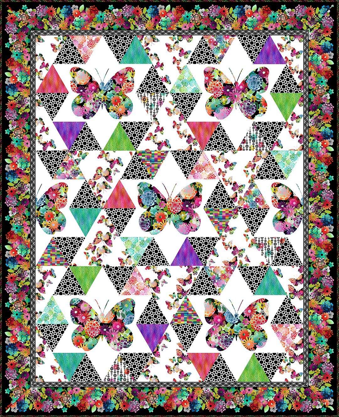 CSMD-KAGG BQM - A GROOVY GARDEN - BUTTERFLY QUILT KIT MULTI 93.5 x 115.5