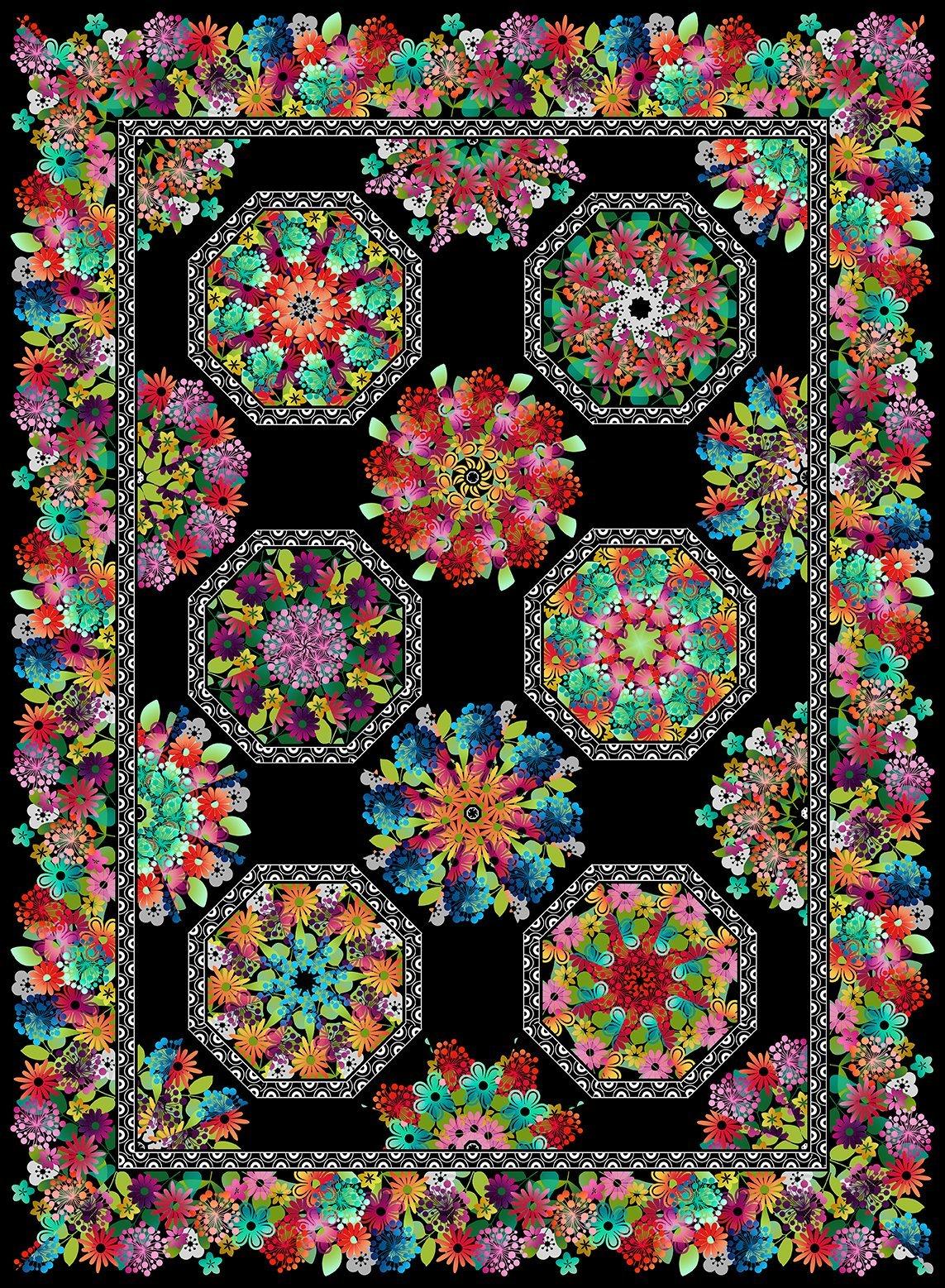 CSMD-KAGG KM - A GROOVY GARDEN - KALEIDOSCOPE QUILT KIT MULTI 65 x 87.5