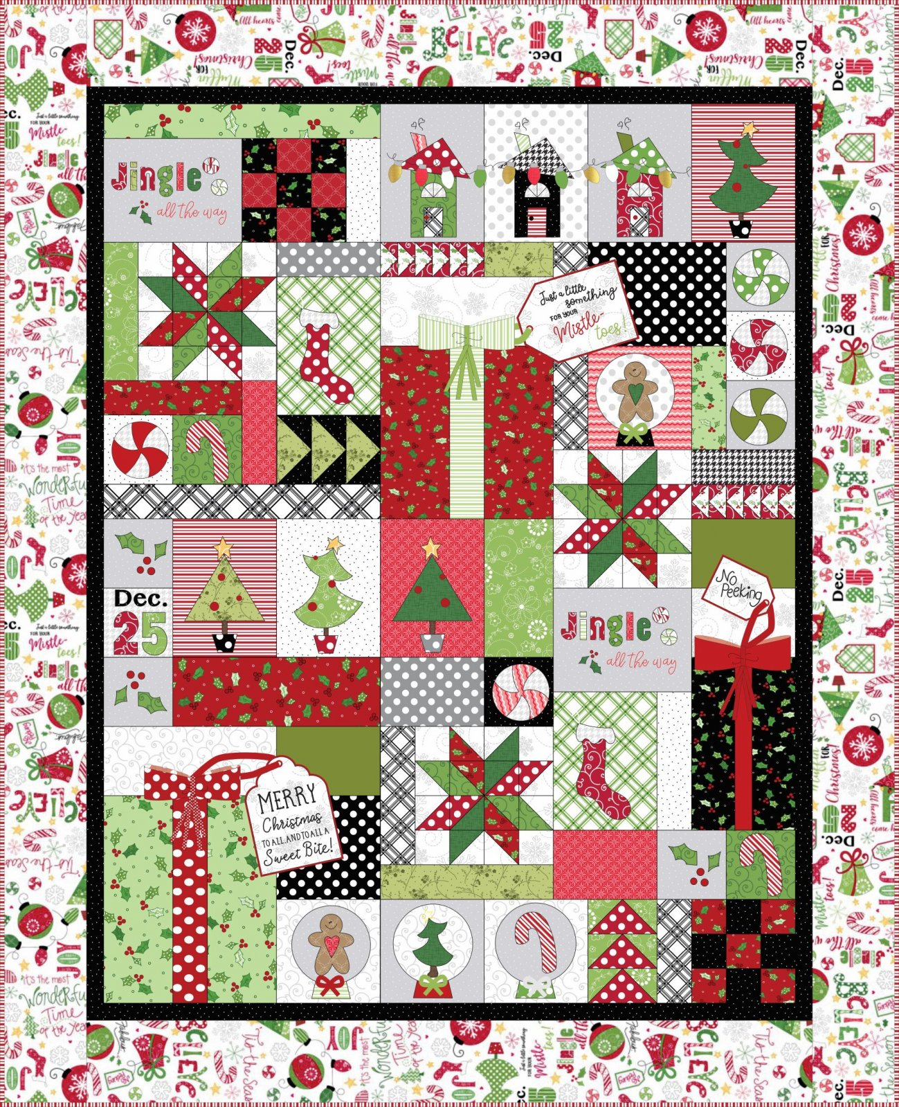 CSMD-KKID801 W - JINGLE & WHISK - JINGLE ALL THE WAY WHITE QUILT KIT 50 x 62