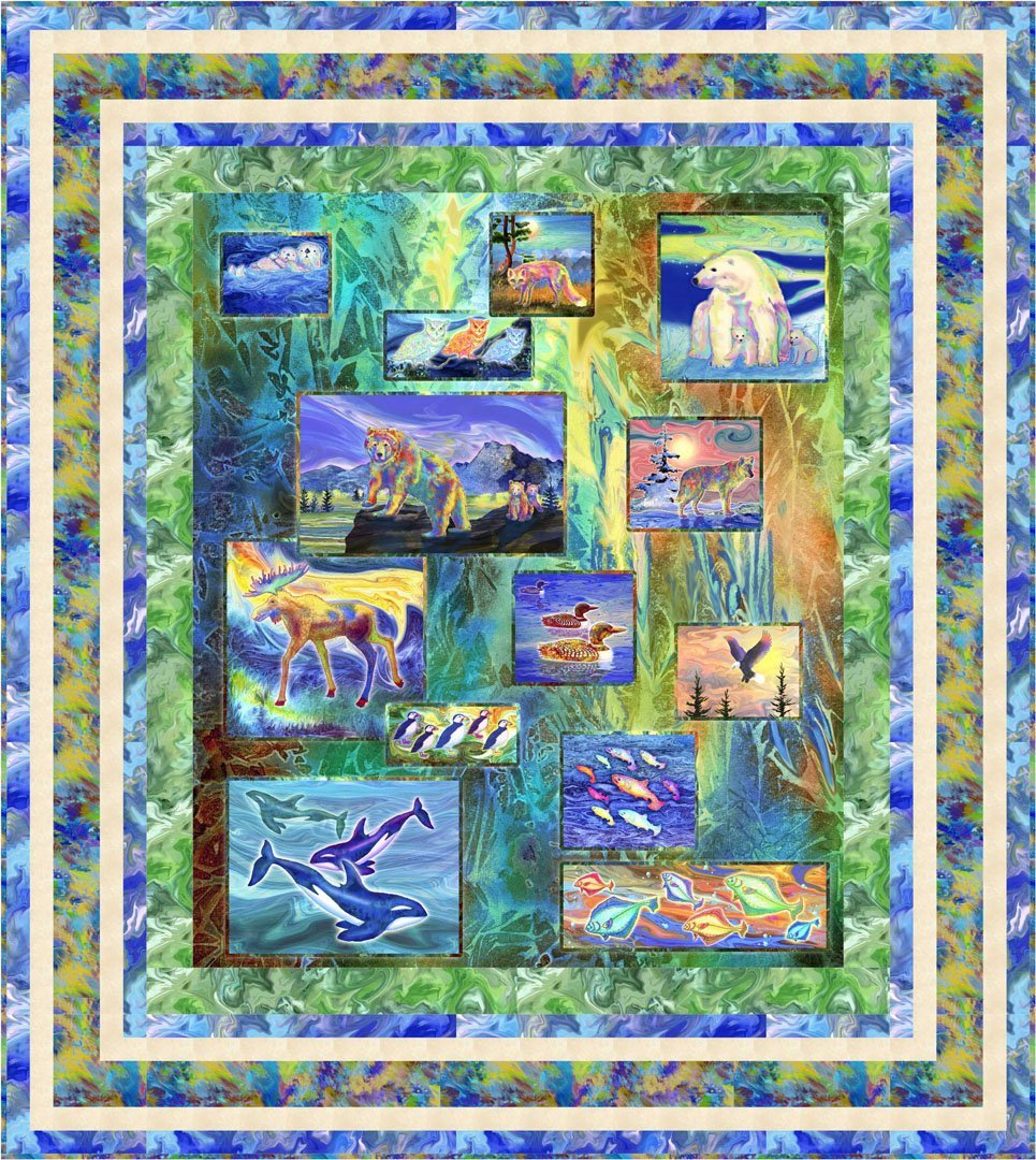 CSMD-KMAGA MM - MAGNIFICENT ANIMALS - TMAGNIFICENT MENAGERIE QUILT KIT 66 x 74