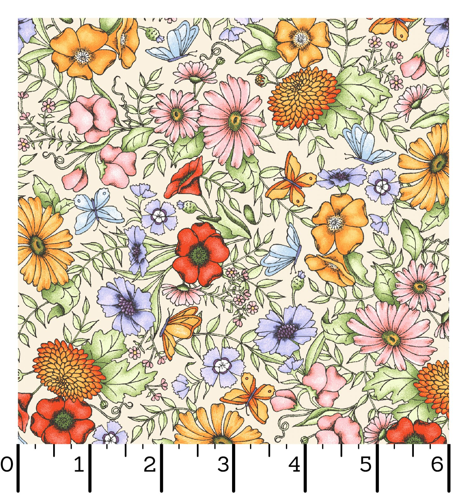 EESC-10122 E - GARDEN STROLL BY KRIS LAMMERS PACKED FLORAL CREAM - ARRIVING IN FEBRUARY 2022