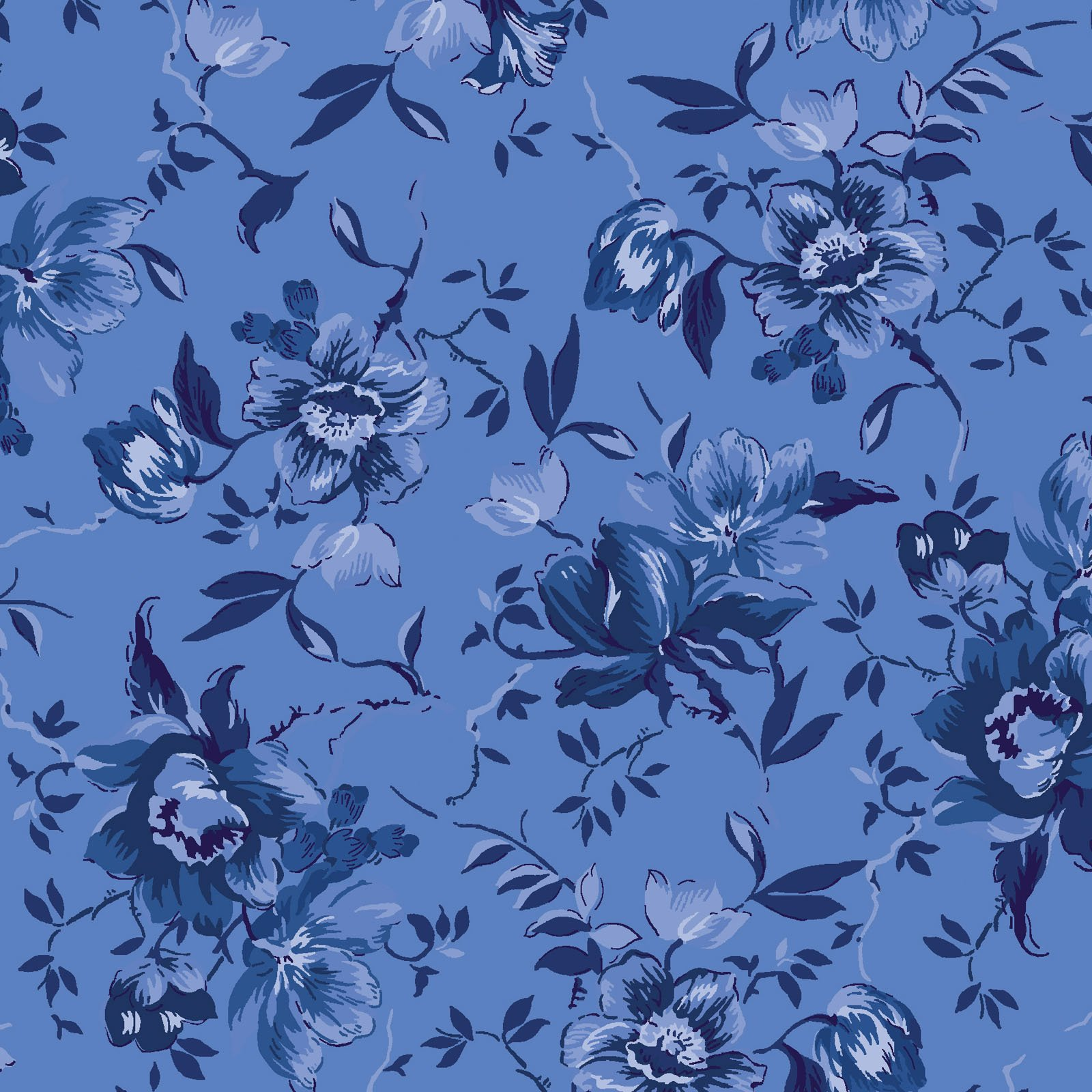 EESC-2503 B - SILVER JUBILEE BY MAYWOOD STUDIO MEDIUM FLORAL BLUE - AVAILABLE TO ORDER