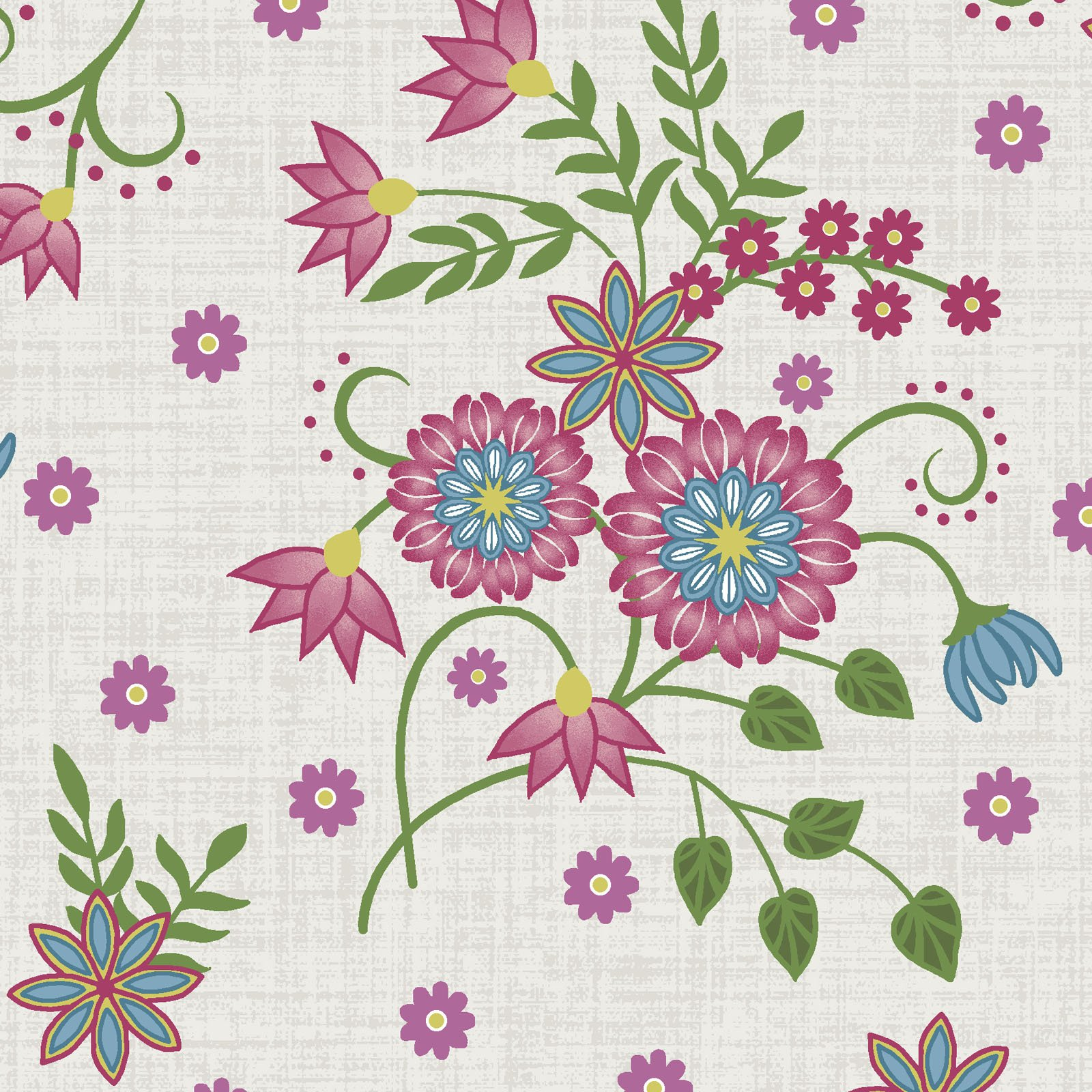 EESC-9881 E - FLOWER & VINE BY MONIQUE JACOBS FLORAL ALLOVER CREAM - AVAILABLE TO ORDER