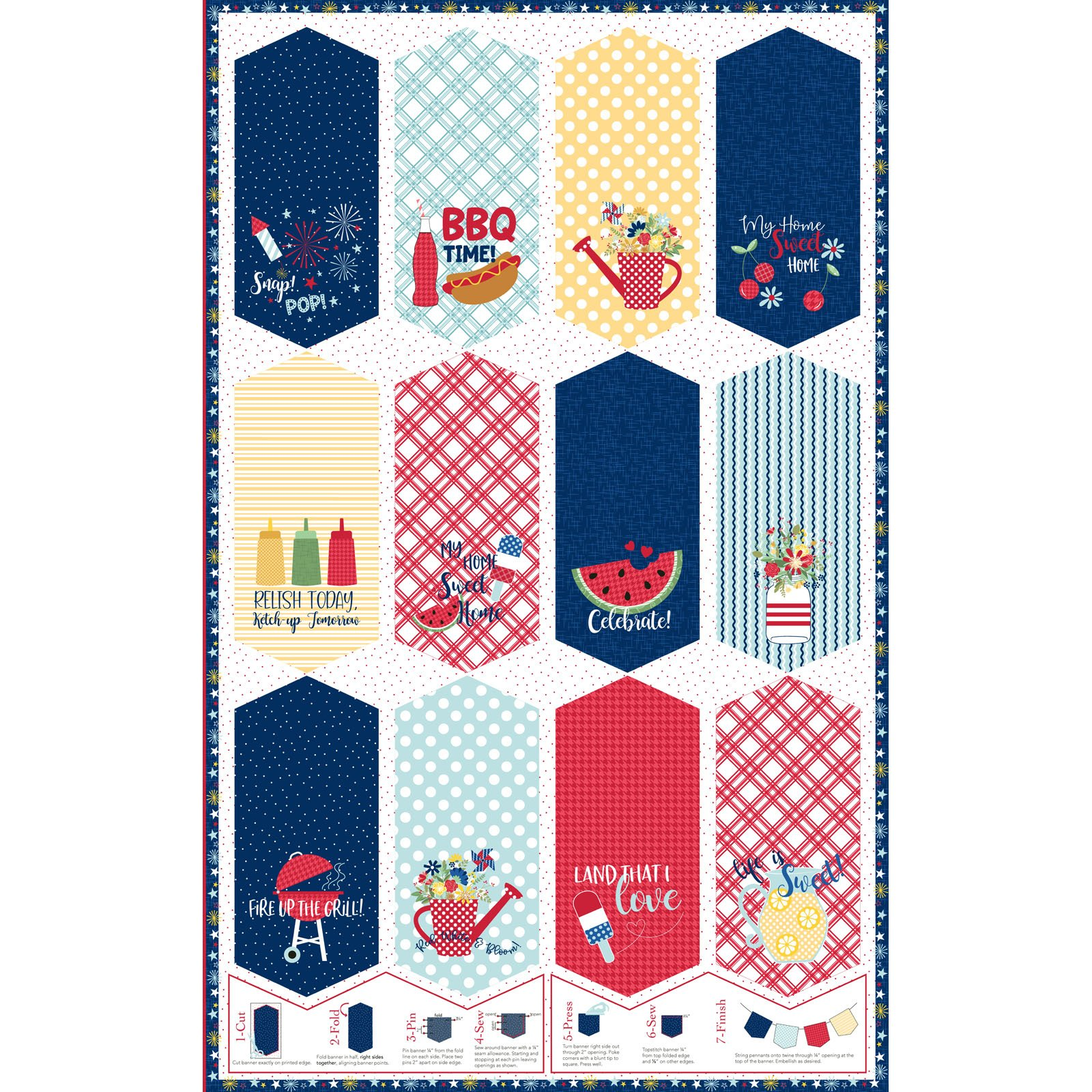EESC-9900 Z - RED, WHITE & BLOOM BY KIMBERBELL RED,WHI&BLU PENNANT PANEL MULTI - ARRIVING MARCH 2021
