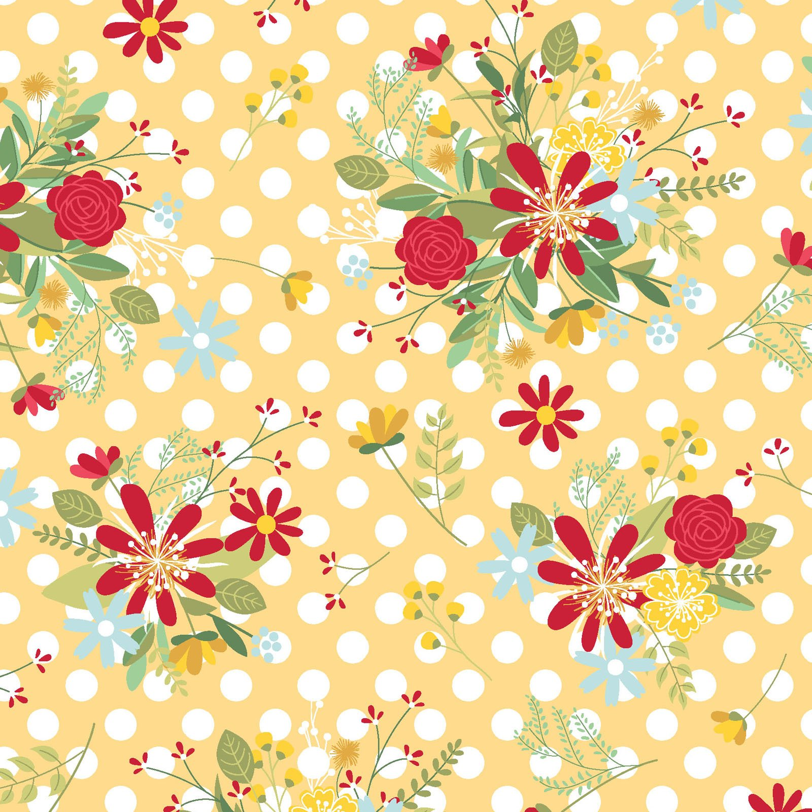 EESC-9904 S - RED, WHITE & BLOOM BY KIMBERBELL POLKA DOT FLOWER YELLOW - ARRIVING MARCH 2021
